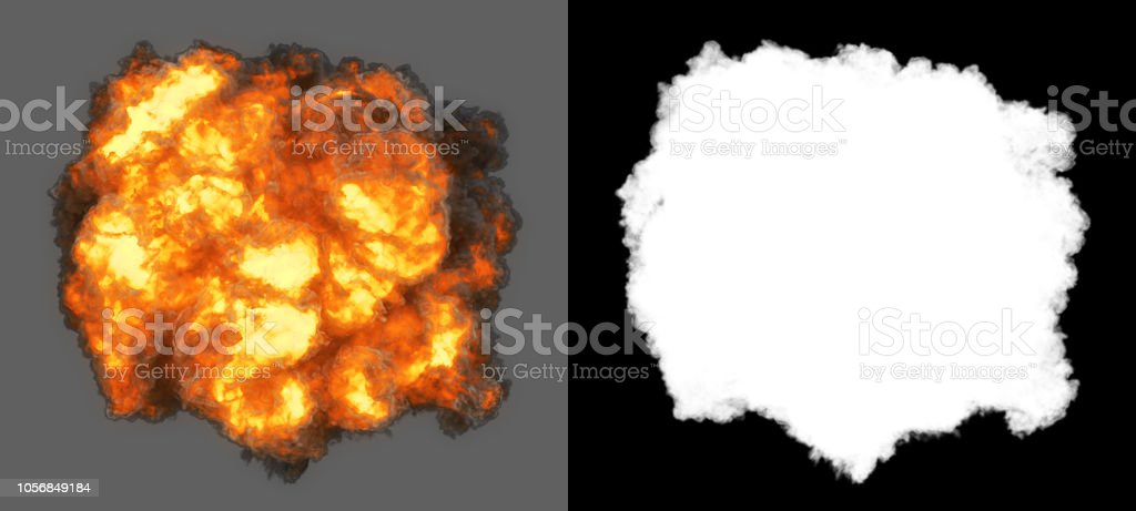 Top view explosion with smoke coming at cam (alpha channel and clipping path included, so you can put your own background) stock photo