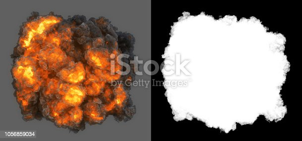 Top view explosion with with smoke coming at cam.  Ideal for compose with another image. Clipping path and alpha channel included.