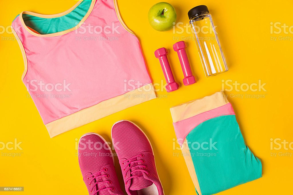 Top view, flat lay. Mockup. Sports and fitness background. stock photo