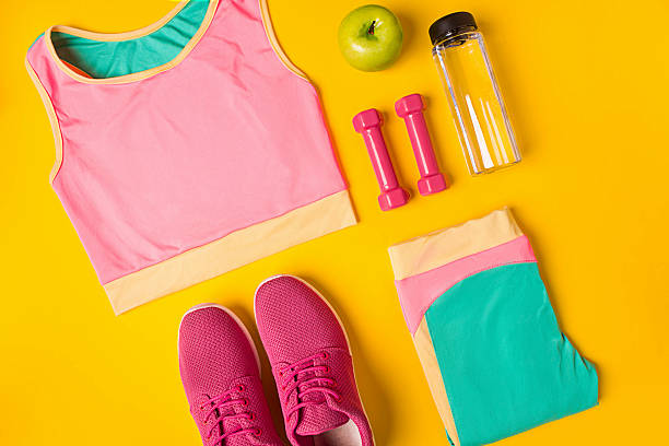 Top view, flat lay. Mockup. Sports and fitness background. - foto de stock
