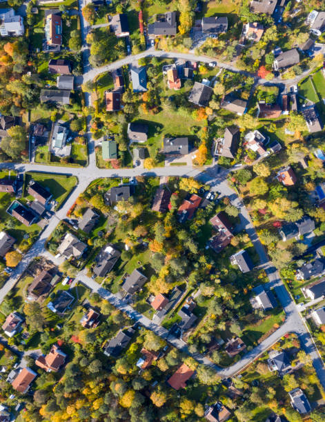 Top view, flying over villa area stock photo