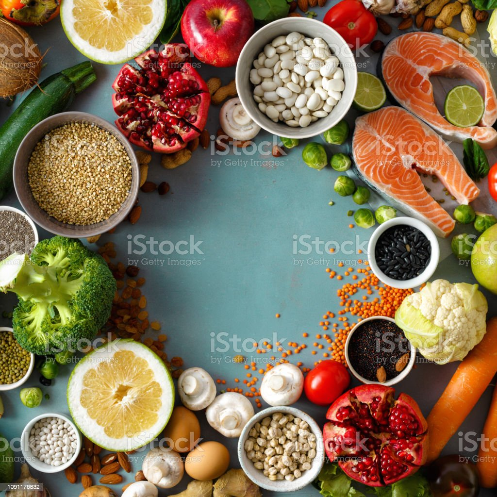 Top view frame set healthy food cooking healthy diet food stock photo