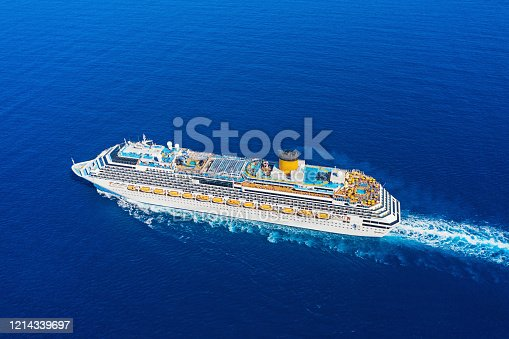 istock Top view from drone of floating liner 1214339697
