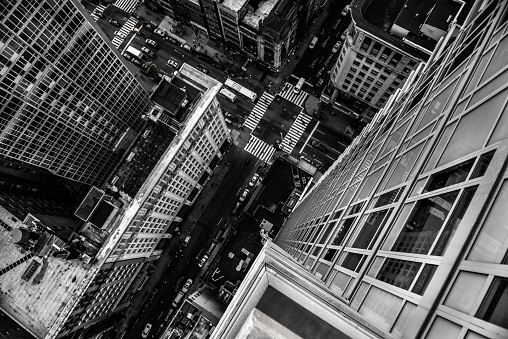 Top view from skyscraper to street in New York City