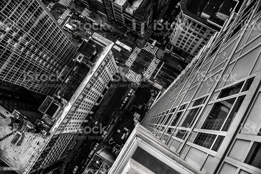 Top view from skyscraper to street in New York City stock photo