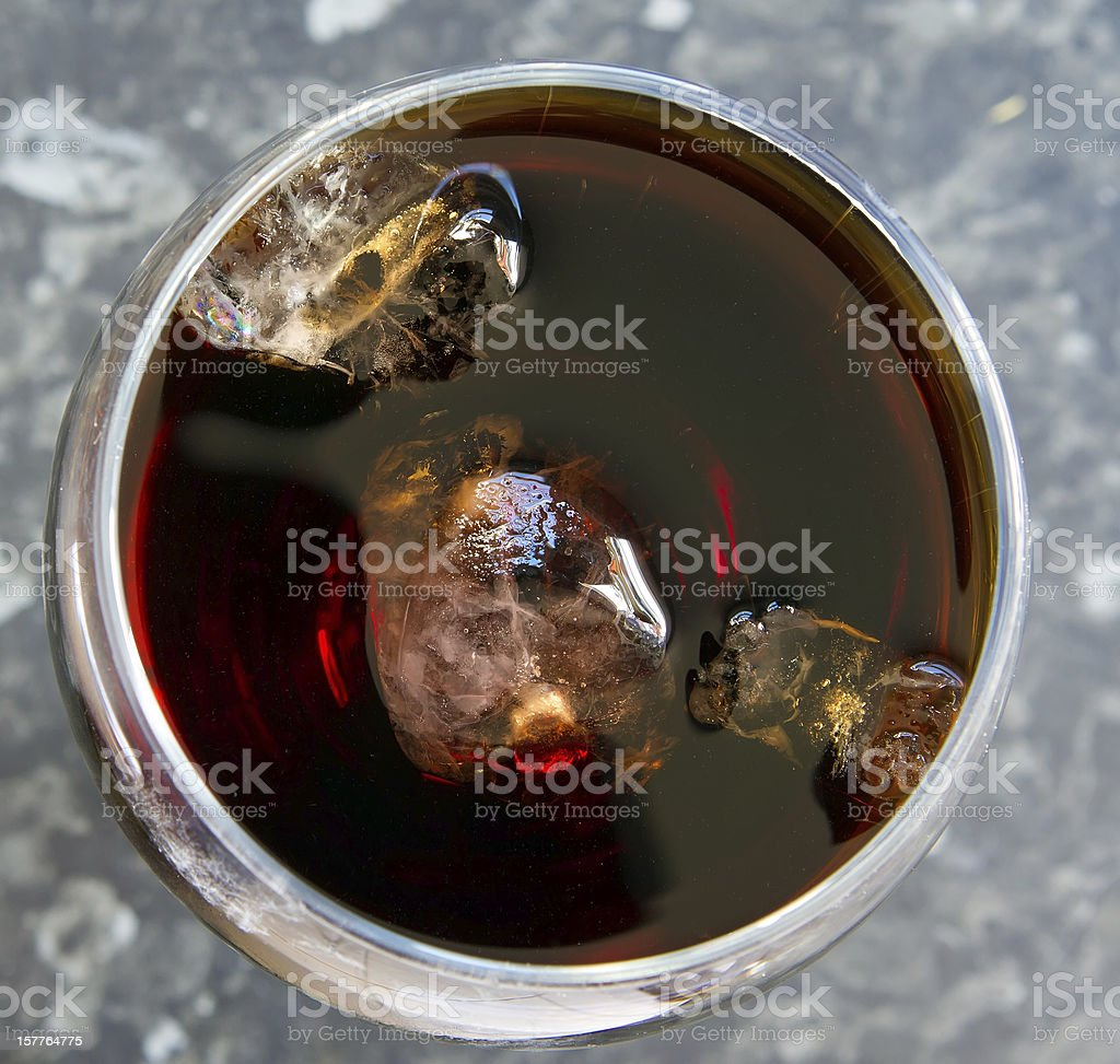 top view glass of cola with ice stock photo