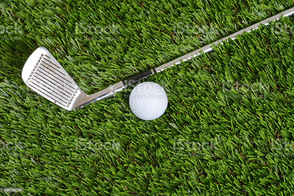 top view golf wedge club and ball royalty-free stock photo