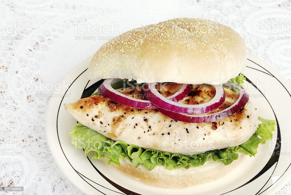 top view grilled chicken sandwich stock photo