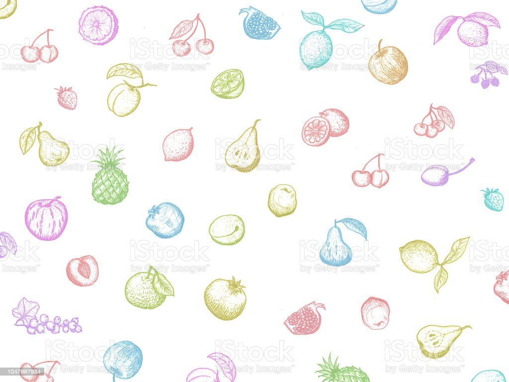 Top view hand drawn colorful illustration. Vegetables, fruits, bread, berries hand drawn. Organic food set. Vegetarian food collection. Fruits and vegetables doodle set. stock photo