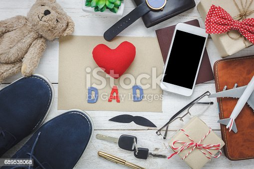 665586146 istock photo Top view Happy Father day with travel concept.Red heart and word