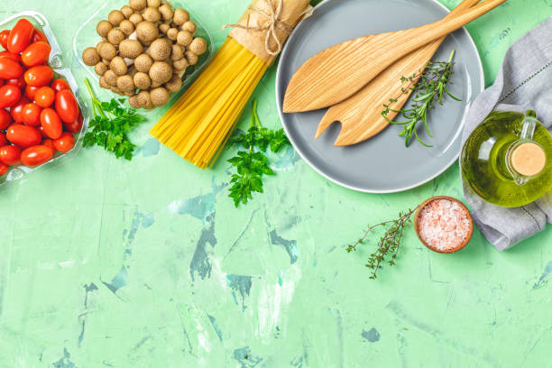 Top view, healthy food concept, top view, copy space stock photo