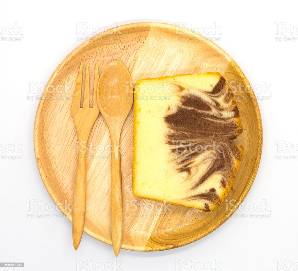 Top view, homemade butter marble cake on white royalty-free stock photo