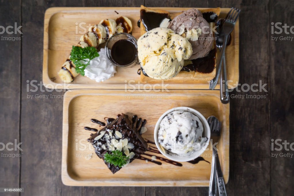 Top view Honey Toast with Ice Cream and brownie stock photo