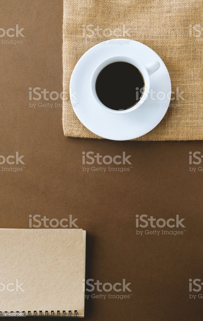 top view hot black coffee in a white cup. stock photo