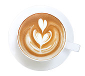 Top view hot coffee cappuccino latte art isolated on white background, clipping path included