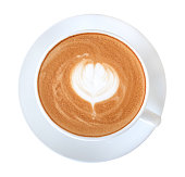 Top view hot coffee latte art isolated on white background, clipping path included