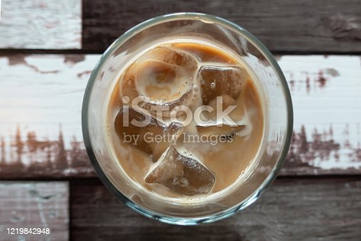 Top view ice cafe latte on wood table close up