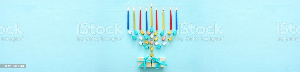 Top view image of jewish holiday Hanukkah background with traditional...