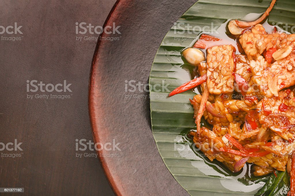 Top view image of tempeh in sweet soy sauce stock photo