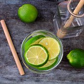 istock Top view lemons and lime slices detox water 1170681050
