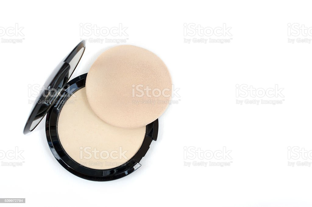 top view makeup pressed powder and puff stock photo