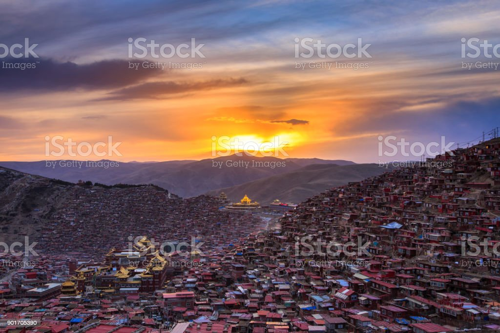 Top view monastery at Larung gar (Buddhist Academy) in sunset time, Sichuan, China stock photo