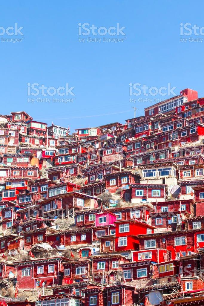 Top view monastery at Larung gar (Buddhist Academy), Sichuan, China stock photo