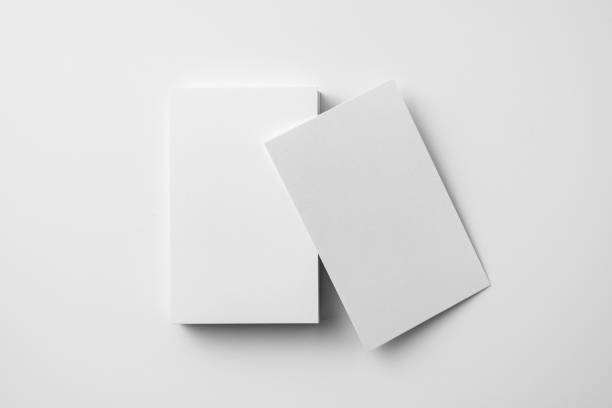top view of 2 business card isolated on white - business card stock photos and pictures