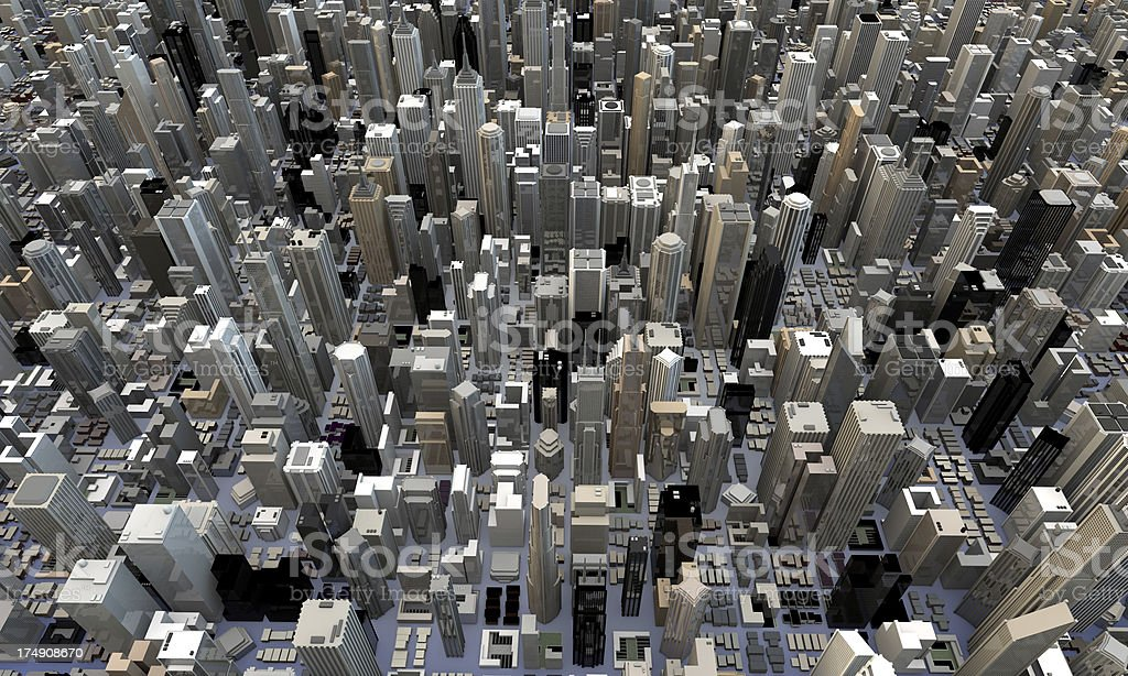 Top View of 3d city skyscrapers stock photo