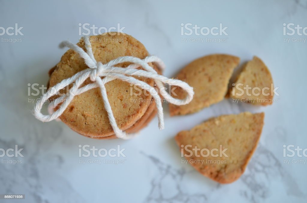 Top view of a batch of coconut shortbread biscuits stock photo
