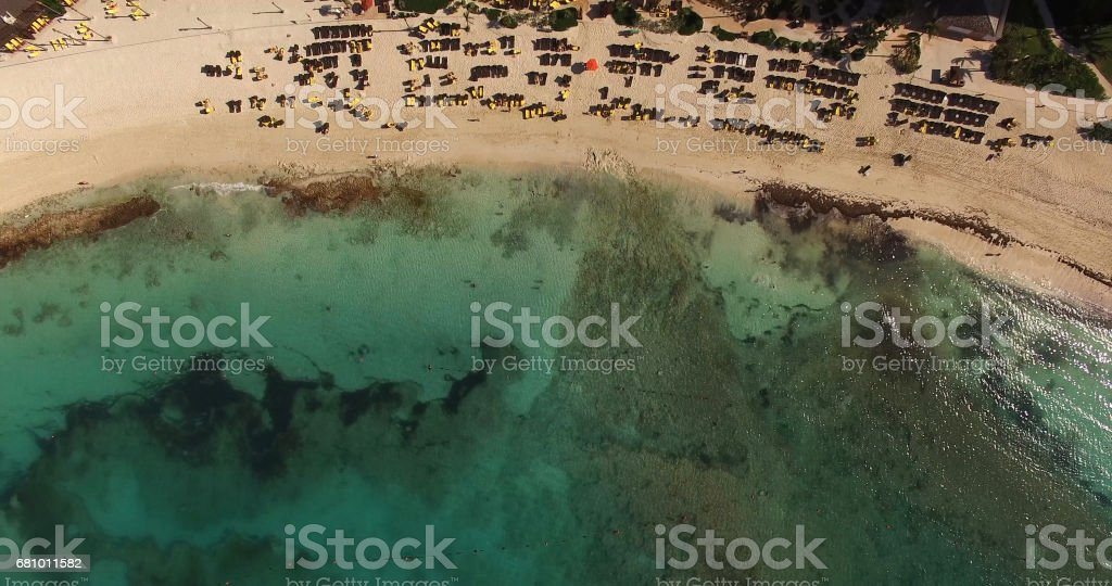 Top View of a Beach in Bahamas royalty-free stock photo