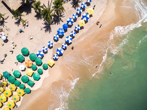 Top View of a Beach in Bahia, Brazil stock photo