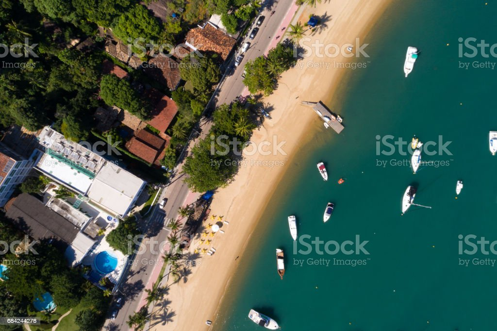 Top View of a Beach in Ilhabela, Sao Paulo, Brazil royalty-free stock photo
