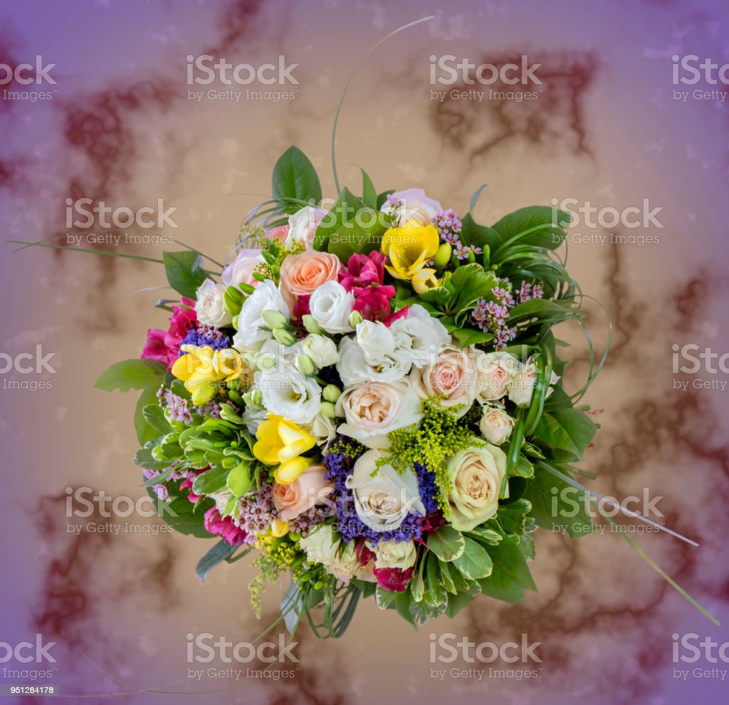 Top view of a beautiful bouquet of flowers multicolored roses stock top view of a beautiful bouquet of flowers multi colored roses royalty free izmirmasajfo