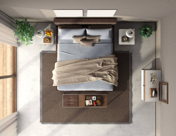 Top view of a blue and brown master bedroom stock photo