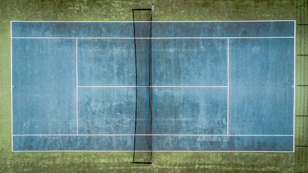 top view of a blue old tennis court. - desolated stock pictures, royalty-free photos & images