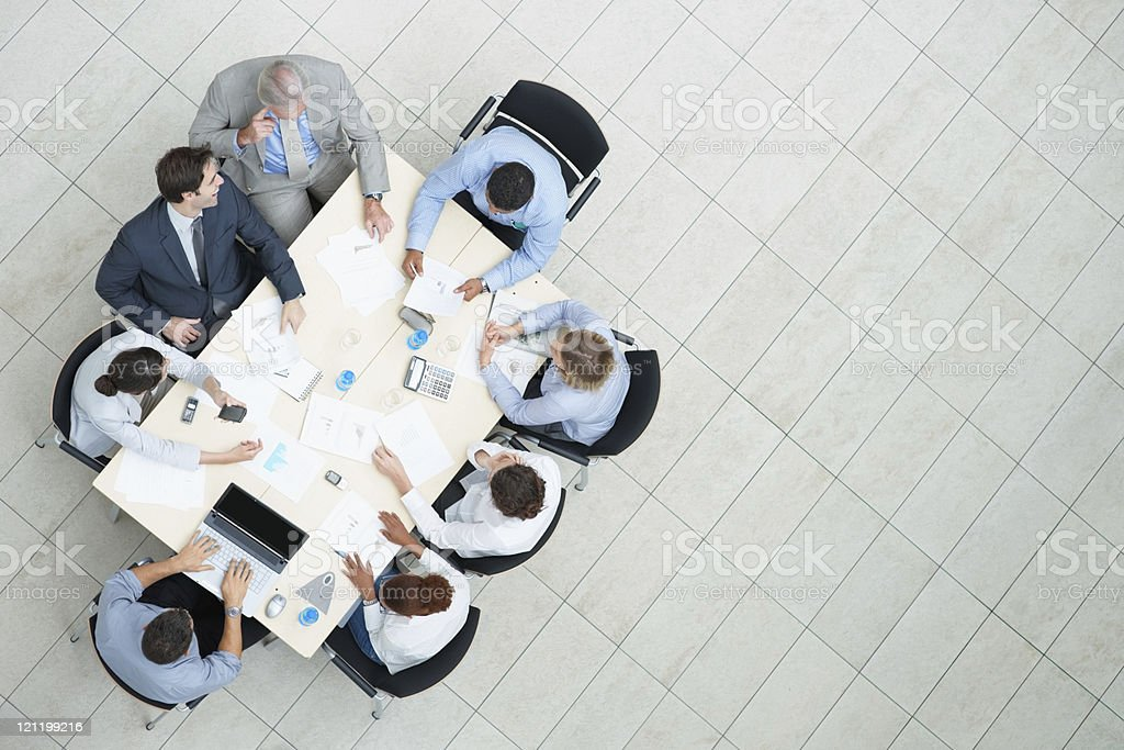 Top view of a business meeting in progress royalty-free stock photo