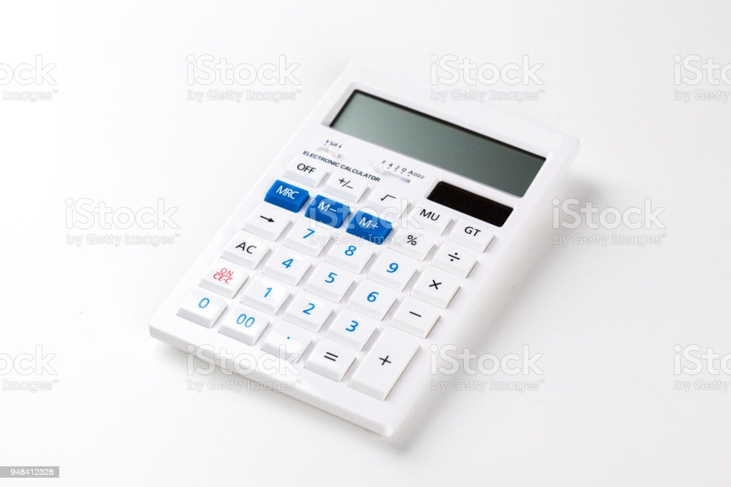 Top view of a calculator isolated on white background stock photo