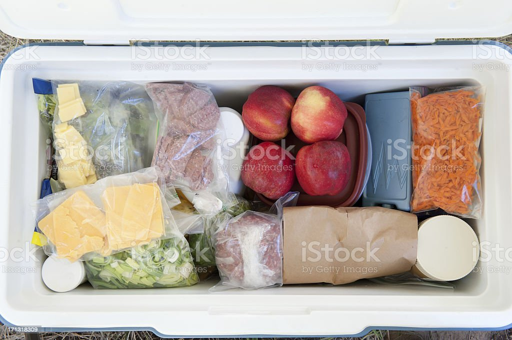 Top view of a cooler filled with various foods stock photo
