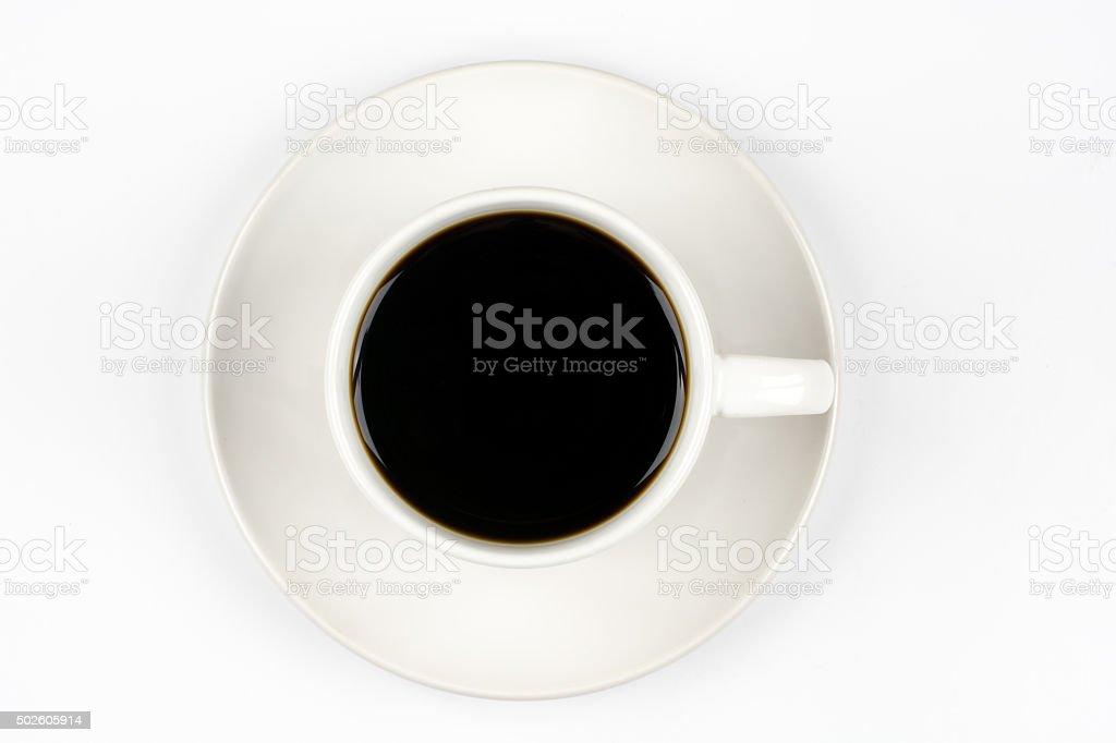 Vista de cima de uma xícara de café, isolada no branco