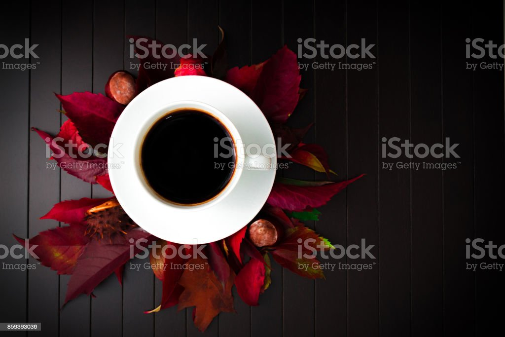 Top view of a cup of coffee. stock photo