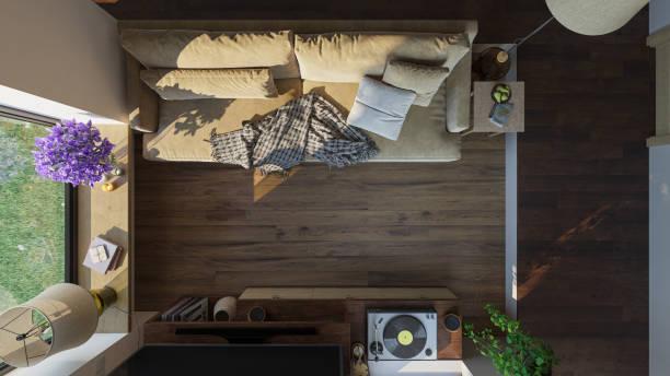 Top-Ansicht eines möblierten Wohnzimmers bei tageslichtdurcht – Foto