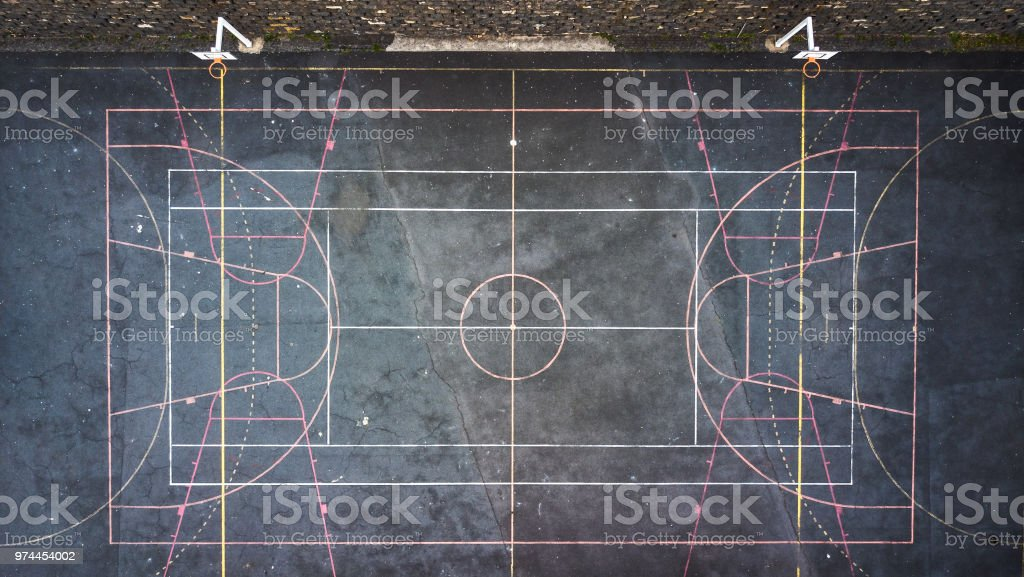 Top view of a grunge sports field. stock photo