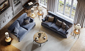 istock Top view of a luxurious living room in a large house by the sea 1284941004