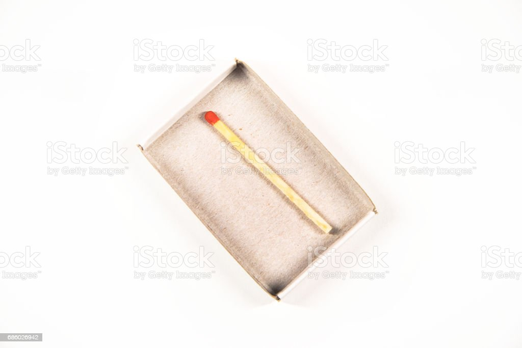 top view of a matchbox with a single match left isolated on white stock photo