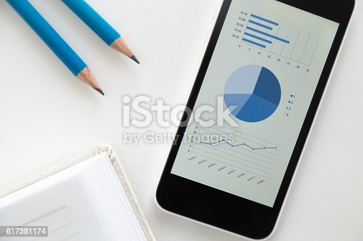 istock Top view of a mobile phone on a desk, diagram 617381174