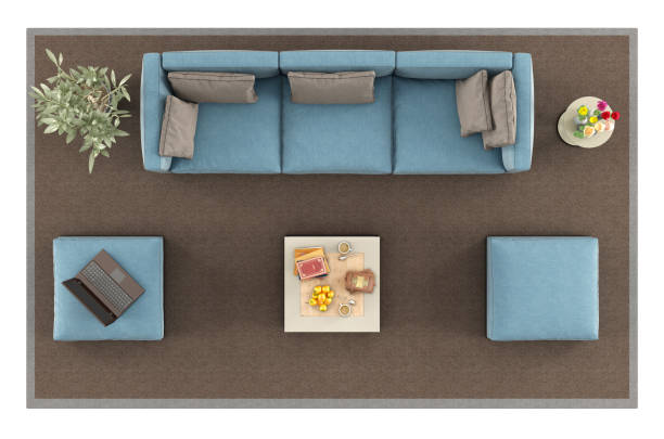 Top view of a modern blue sofa on carpet stock photo