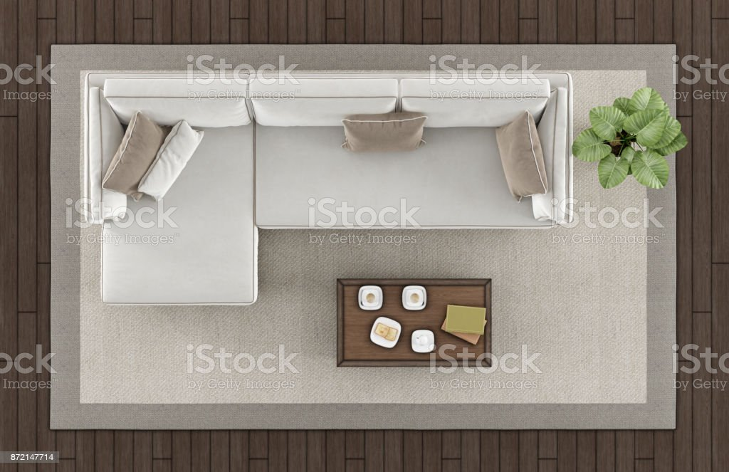 Top view of a modern living room - foto stock