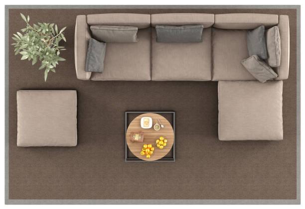 カーペットのモダンなソファの上の眺め - ソファ 無人 ストックフォトと画像