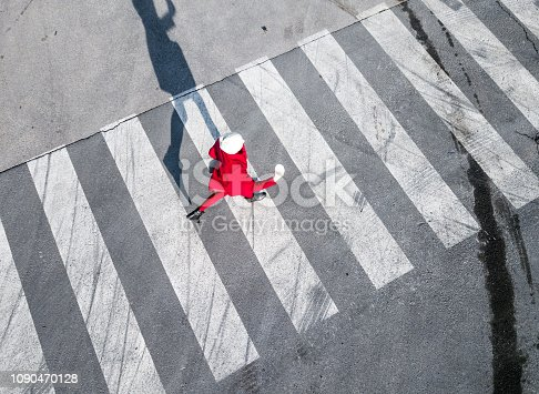Top view of a pedestrian crosswalk